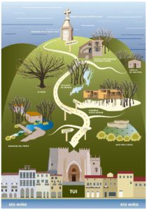 Mapa del Monte Aloia al Rio Miño